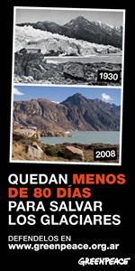 Campaña de Greenpeace destinada a alertar sobre los efectos desatrosos del calentamiento global. 2009. Fuente: greenpeace.org.