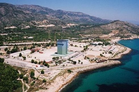 Vista aérea de Vandellós I en el año 1989.