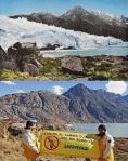 Campaña de Greenpeace contra el cambio climático con imágenes de glaciares en franco retroceso. 2009. Fuente: greenpeace.org.