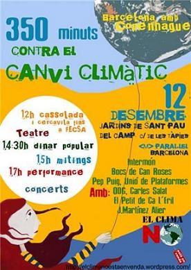 Cartel. '350 minutos contra el cambio climático'. Barcelona, 12 dic. 2009. Fuente: unecologistaenelbierzo.com.