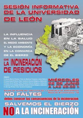 Cartel. Conferencia sobre la incineración de residuos. Ponferrada, 22 jun. 2011.