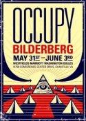 Cartel. Occupy Bilderberg.30 mayo-3 junio 2012. Teatrevesadesperta.wordpress.com.