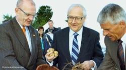 Bruderle y dos directivos de BASF sembrando patatas transgénicas en Zepkow (Alemania). 31 agosto 2010.  Fuente dw-world.de. Foto Picture-alliance.dpa.