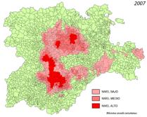 Áreas afectadas por la plaga de topillos en Castilla y León. 2007. Wikipedia.org.