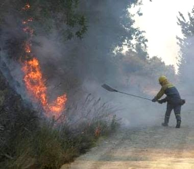 Un brigadista colabora en la extinción de  un incendio en Barjas (El Bierzo). 2007. Fuente elecodelbierzo.es.
