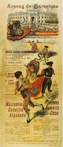 Cartel. Cartel anunciador de una corrida de toros en la Plaza de las Arenas. Barcelona. 1900. Wikipedia.org.
