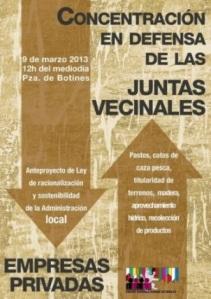 Cartel. Concentración en Defensa de las Juntas Vecinales. León, 9 marzo 2013.