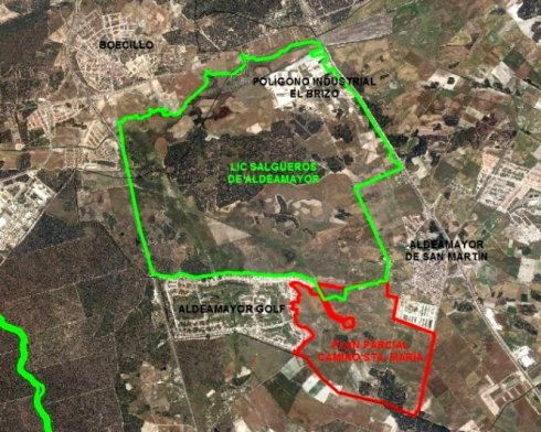 En el recuadro verde aparece el LIC Salgüeros de Aldeamayor. Fuente: Ecologistasenaccion.org.