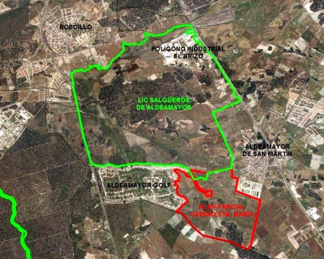 En el recuadro verde el LIC Salgüeros de Aldeamayor. Fuente: ecologistasenaccion.org.