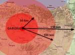 El radio de acción de un posible accidente nuclear en Garoña. 2009. Fuente: inigoortizdeguzman.wordpress.com.