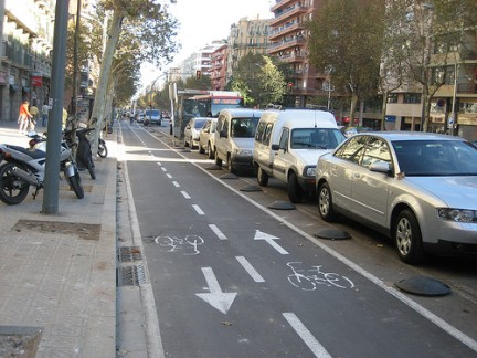 Carriles bici en Barcelona. 2009. Fuente: ecologiablog.com.