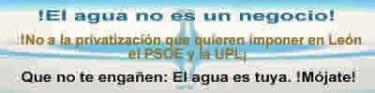 Pegatina. Plataforma leonesa contra la privatización del agua. 2009.