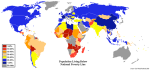Mapa del hambre en el mundo. Fuente: centralintelligencyagency.com. 16 marzo 2008. Wikipedia.org.