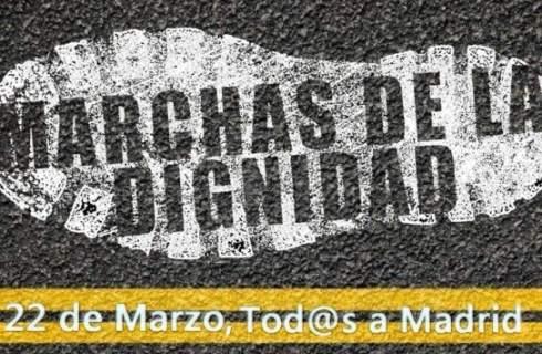 Cartel. 22M. Marchas de la Dignidad. 'Tod@s a Madrid'. 22 marzo 2014. Fuente: unecologistaenelbierzo.wordpress.com.