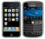 Imágenes de un iphone y una BlackBerry.