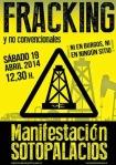 Cartel.  Manifestación 'Fracking'. Sotopalacios, 19 abril 2014.