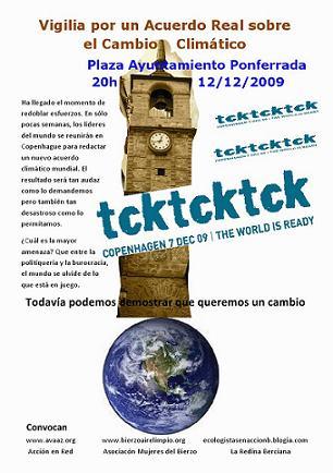 Cartel. Vigilia para un acuerdo real sobre el cambio climático. Ponferrada, 12 dic. 2009. Unecologistaenelbierzo.wordpress.com.