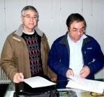 Enrique López Manzano y Marcelino B. Taboada Gerbolés en la presentación de la Asociación Cultural Ecobierzo. Ponferrada, 19 febr. 2010. Fuente: lacronicadeleon.es. Foto: P. Labarga.