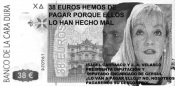'Gersules' contra la tasa abusiva de la recogida de basuras del CTR con los rostros de Isabel Carraco y Juan Antonio Velasco. Ponferrada, 19 nov. 2009. unecologistaenelbierzo.