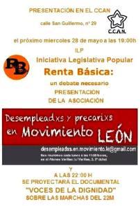 Cartel. Renta básica y 'Voces para la dignifdad' en el CCAN. León, 28 mayo 2014. Fuente: Unecologistaenelbierzo.wordpress.com.