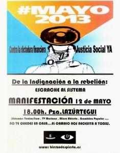 Cartel. Convocatoria 12M-15M del Movimiento 15M berciano. Ponferrada, 12 mayo 2013. Fuente: Unecologistaenelbierzo.wordpress.com.