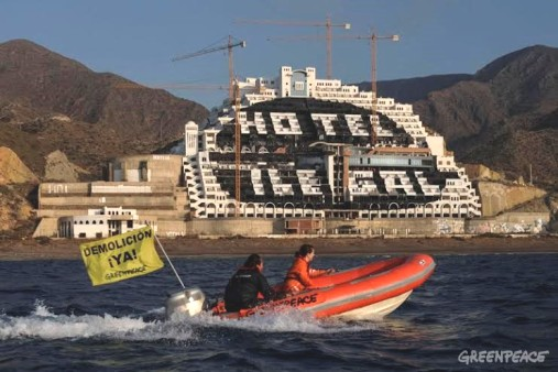 El Algarrobico 'Hotel ilegal'. 12 mayo 2014. Fuente: greenpeace.org.