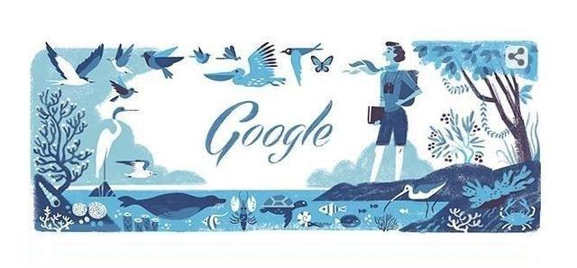 El 'doodle' dedicado a Rachel Louise Carson. 27 mayo 2014. Fuente: Google.com.
