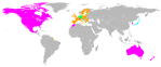 En color rosa los países firmantes del ACTA. Wikipedia. 31 enero 2012.