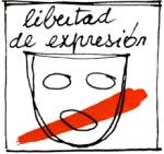 Pegatina utilizada en la campaña por la libertad de expresión. 1977. Ellibrepensador.com.