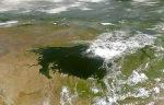 Vista del lago Victoria desde el trasbordador. Wikipedia.org. NASA.