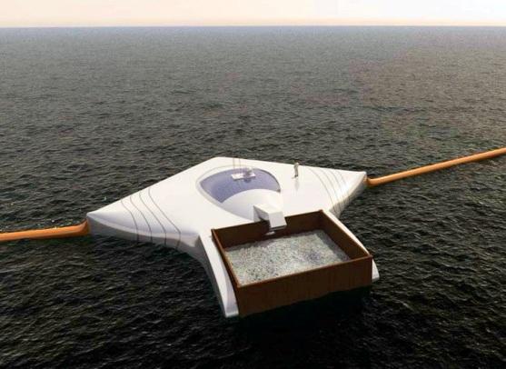 Instalación concebida por 'The Ocean Cleanup' para la limpieza de los océanos. 2014. Fuente: Inhabitat.com.
