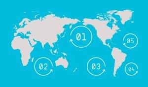 Los cinco principales giros que acumulan la basura plástica oceánica. Theoceancleanup.com.