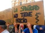 Pancarta contra el cierre de camas. Ponferrada, 11 jun. 2014. Unecologistaenelbierzo.