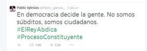 Tuit de Pablo Iglesias. 2 jun. 2014. Lainformacion.com.