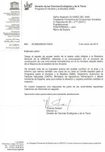 Respuesta de la Unesco a Compromiso Socialista por la minicentral proyectada en el río Ancares. 3 marzo 2013. Unecologistaenelbierzo.wordpress.com.