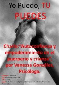 Charla de Lactabebé: 'Autoconfianza y empoderamiento en el puerperio y crianza'. Ponferrada, 17 sept. 2014. Fuente: lactabebé.wordpress.com.