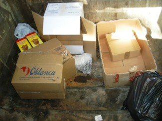 Interior de un contenedor de recogida de la basura orgánica en Ponferrada. 18 jun. 2010. Foto: Enrique L. Manzano.