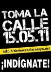 Cartel. ¡Democracia Real Ya. Fuente: Unecologistaenelbierzo.wordpress.com.