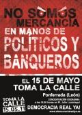 Cartel. Convocatoria del 15M. Ponferrada, 15 mayo 2011. Fuente: unecologistaenelbierzo.wordpress.com.