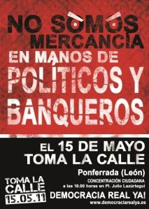 Convocatoria del 15M en Ponferrada. 15 mayo 2011. Fuente: unecologistaenelbierzo.wordpress.com.