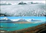Efectos del cambio climático en los glaciares. 1928 - 2004. Fuente: Vaxtuxpan.blogspot.com.