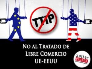 Logo. TTIP. No al Tratado de Libre Comercio UE-Estados Unidos. Attac.org.
