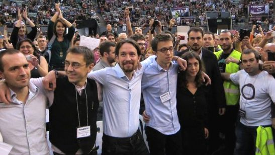 El equipo de Iglesias en Vistalegre. Madrid, 19 oct. 2014. Eldiario.es.
