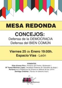250113. Pasquín. Imagen. Mesa redonda del Frente de Defensa de la Juntas Vecinales de León.