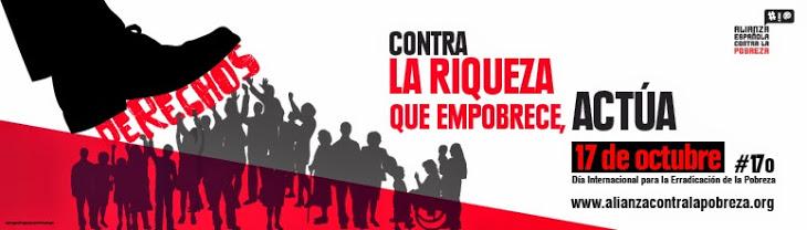 Banner de la campaña Pobreza cero. 14-19 octubre 2014.