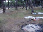 Basura y huellas de hogueras en el pinar de Antequera una semana después del Pingüinos 2009. 18 enero 2009. Nodo50.org.