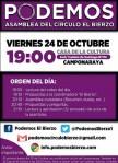 Cartel de la convocatoria de una asamblea de Podemos en El Bierzo. 24 oct. 2014.