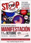 Cartel. No al TTIP. Madrid, 11 oct. 2014. Tomalosbarrios.net.