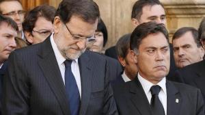 El presidente español Mariano rajoy y el de la Dipuación de León, Marcos Martínez. León, 14 mayo 2014. Abc.es.