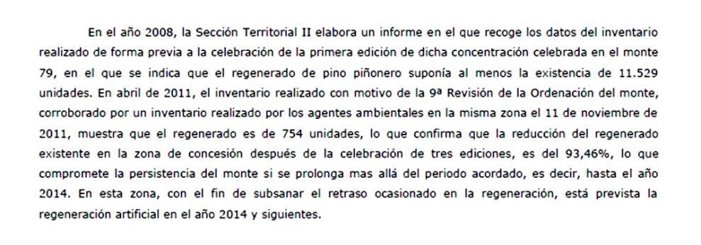 Extracto del informe sobre el proyecto Normafor de la Junta de Castilla y León. Pag. 158. 28 dic. 2011.